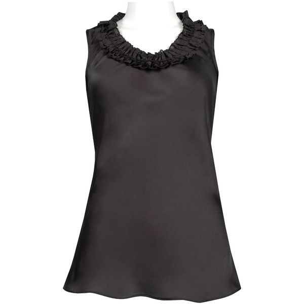Spense Ruffle Neckline Sleeveless Satin Top in Black ❤ liked on Polyvore