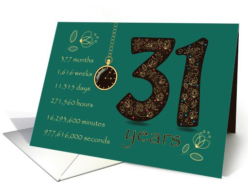 31st Golden Birthday Card Floral Number 31 Time Counting Card