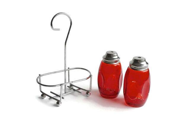 Vintage Salt & Pepper Shakers  Red Flash Glass