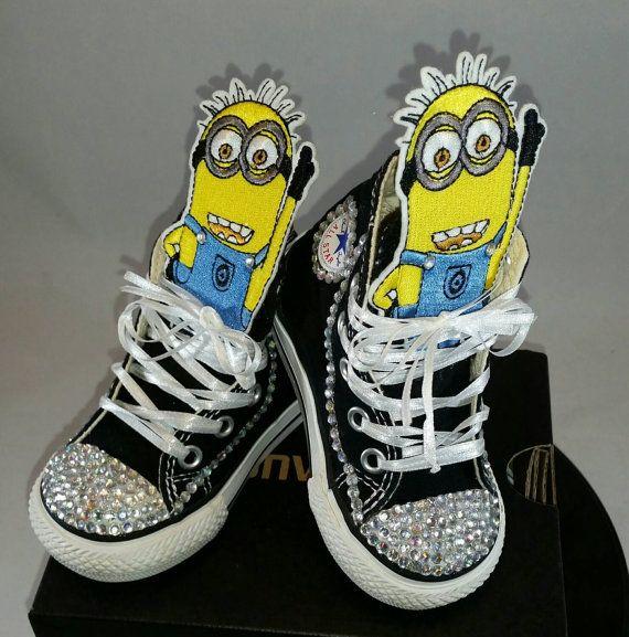 24e1a85af6741 Girls Custom Converse- Kids Converse- Bling Converse- Minions ...