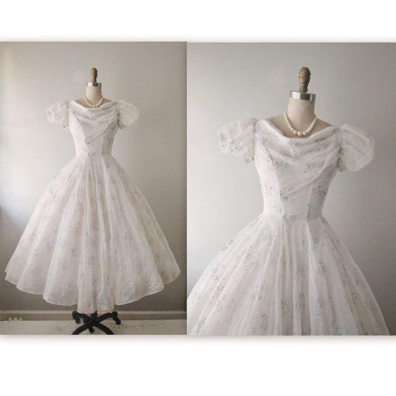 50\'s Floral Chiffon Dress // Vintage 1950\'s Flocked Floral Chiffon ...