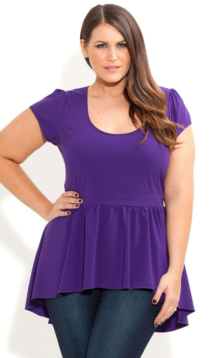 City Chic Womens Apparel Womens Plus Size Peplum Style Wrap Top with V Neck and Sleeve Ruching