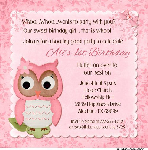 Pink Owl Birthday Card First Invitation Pink Flower Girly Design - Birthday invitation card wordings