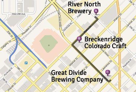 Denver Breweries Map on