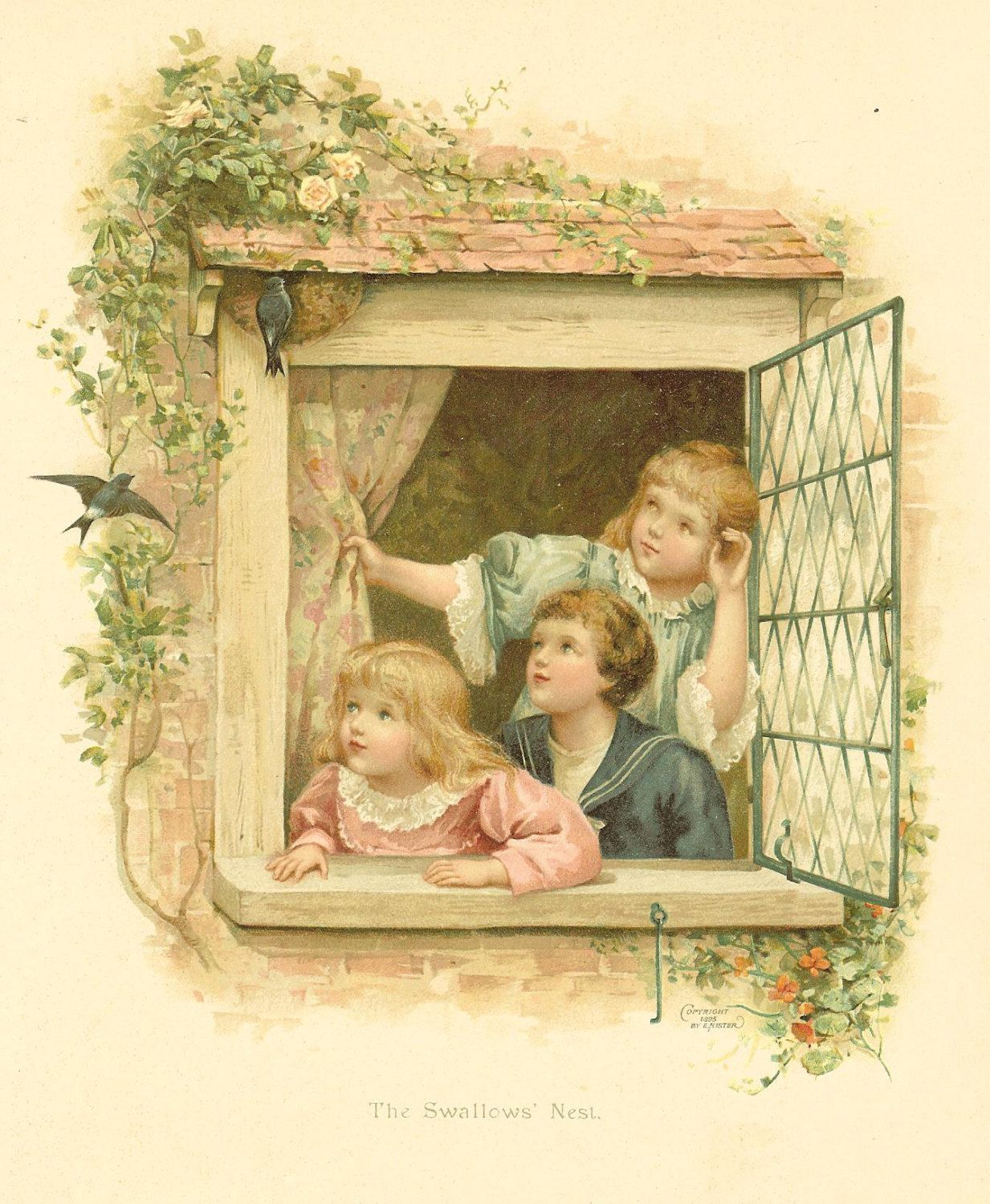 Victorian 1896 Ernest Nister  Antique Children's Print -Three Children Looking Out  Lead Paned Window at Swallows Nest