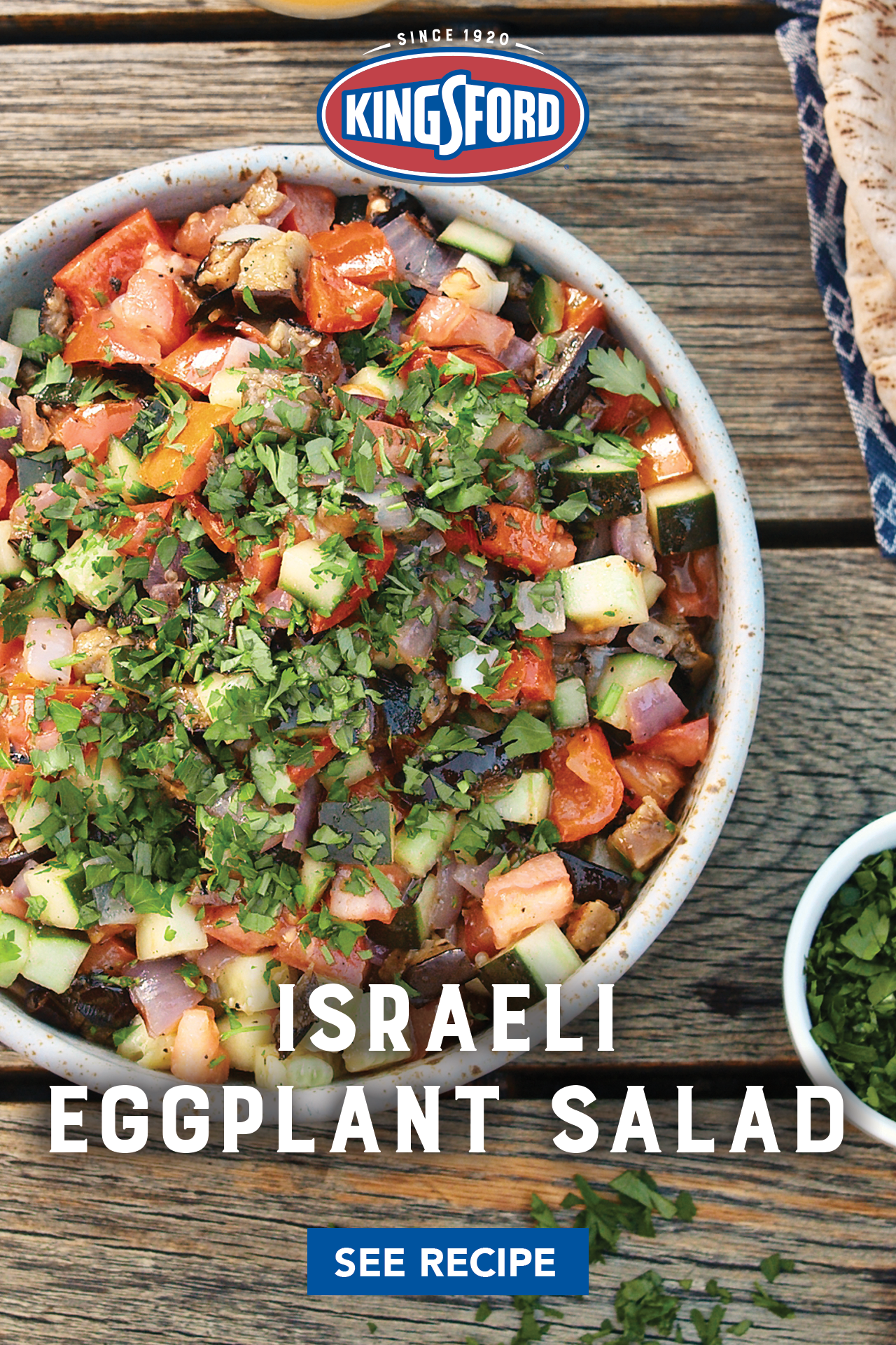 Israeli Eggplant Salad Kingsford Recipe In 2020 Health Dinner Recipes Veggie Dishes Vegetable Recipes