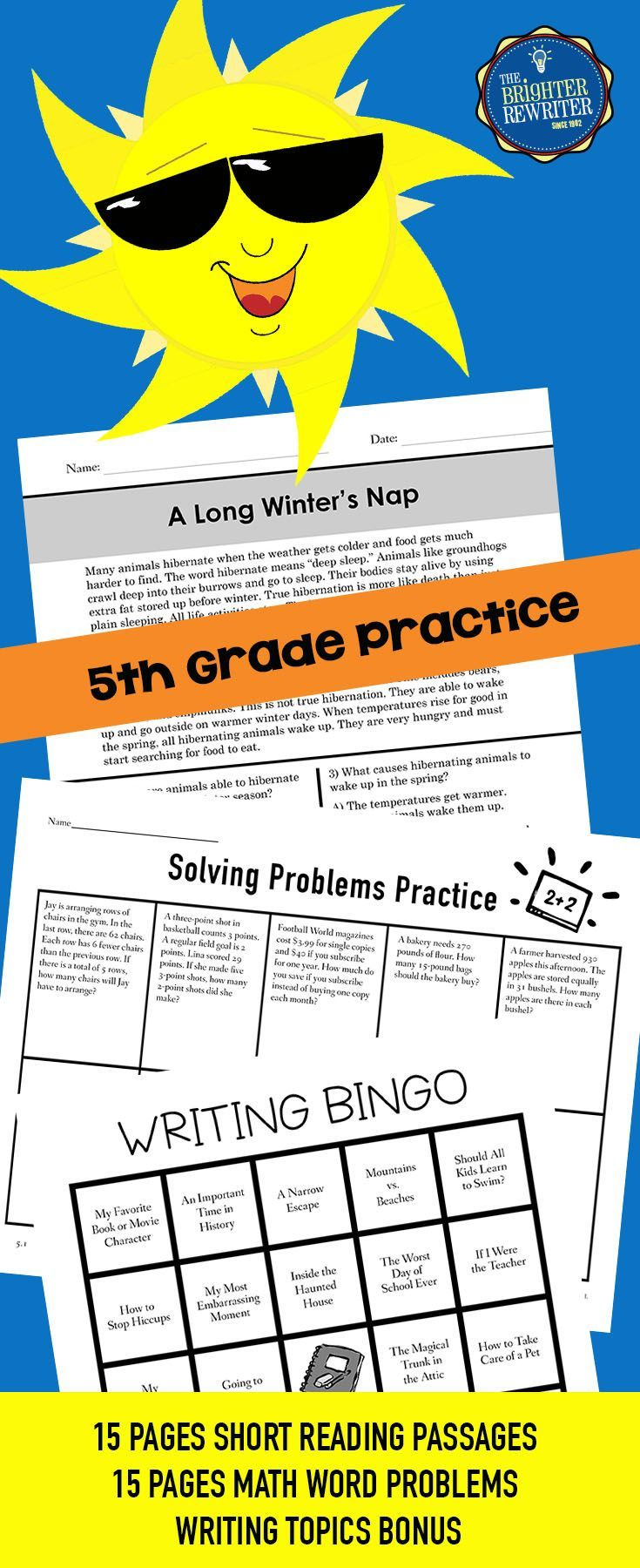 Summer Packet for 5th Grade | Resources For Educators | 6th
