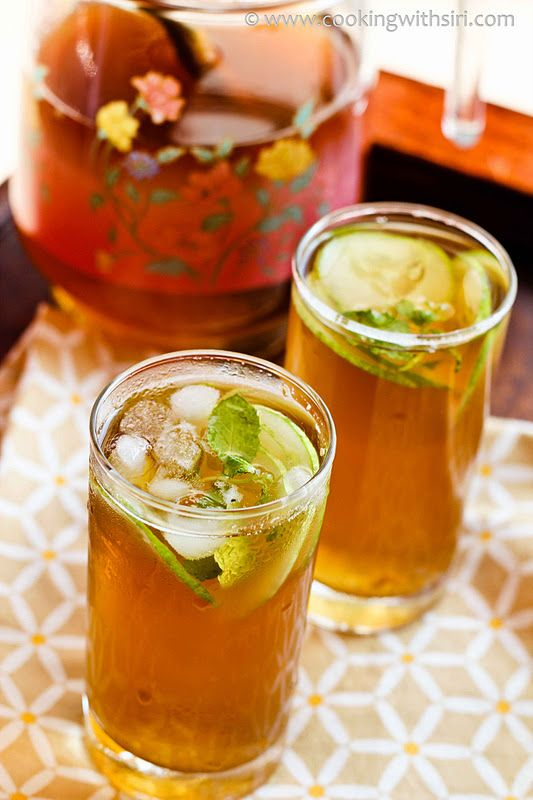Ginger Honey Tea:Ginger and Honey Iced Tea    Adapted from Real Simple    Ingredients needed:    10 cups of filtered water  8 green tea bags  1/4 cup honey  1-2 tsp freshly grated ginger  sliced cucumbers (optional)  few sprigs of mint leaves (optional)