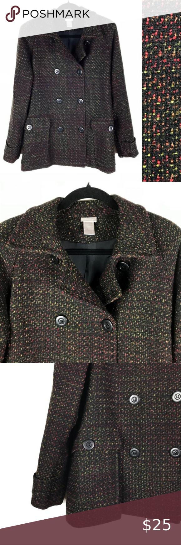 Spiegel Vintage Black Colorful Speckled Pea Coat S