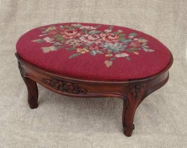 very old foot stools vintage old antique small needlepoint upholstery foot stool