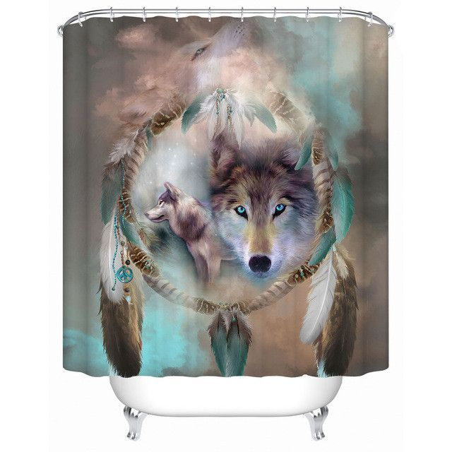 Staring Wolf Dream Catcher Shower Curtain Wolf Art Wolf Spirit