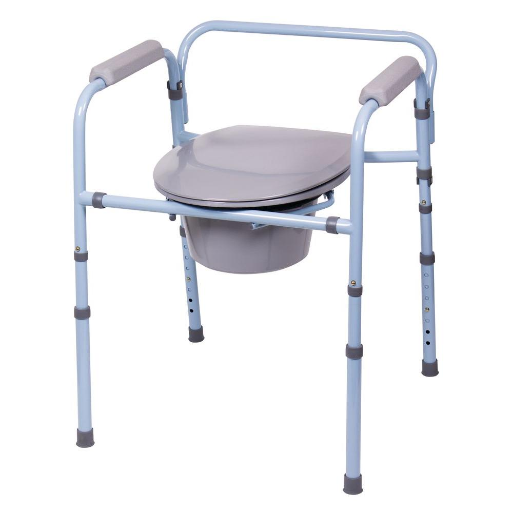 Carex Health Brands Deluxe Folding Commode Sky Blue Shower Seat