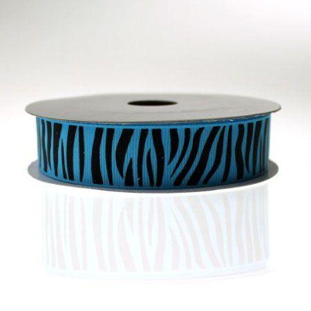 "Amazon.com: Zebra Stripe Print Grosgrain Ribbon Turquoise/Black - 7/8"": Arts, Crafts & Sewing"