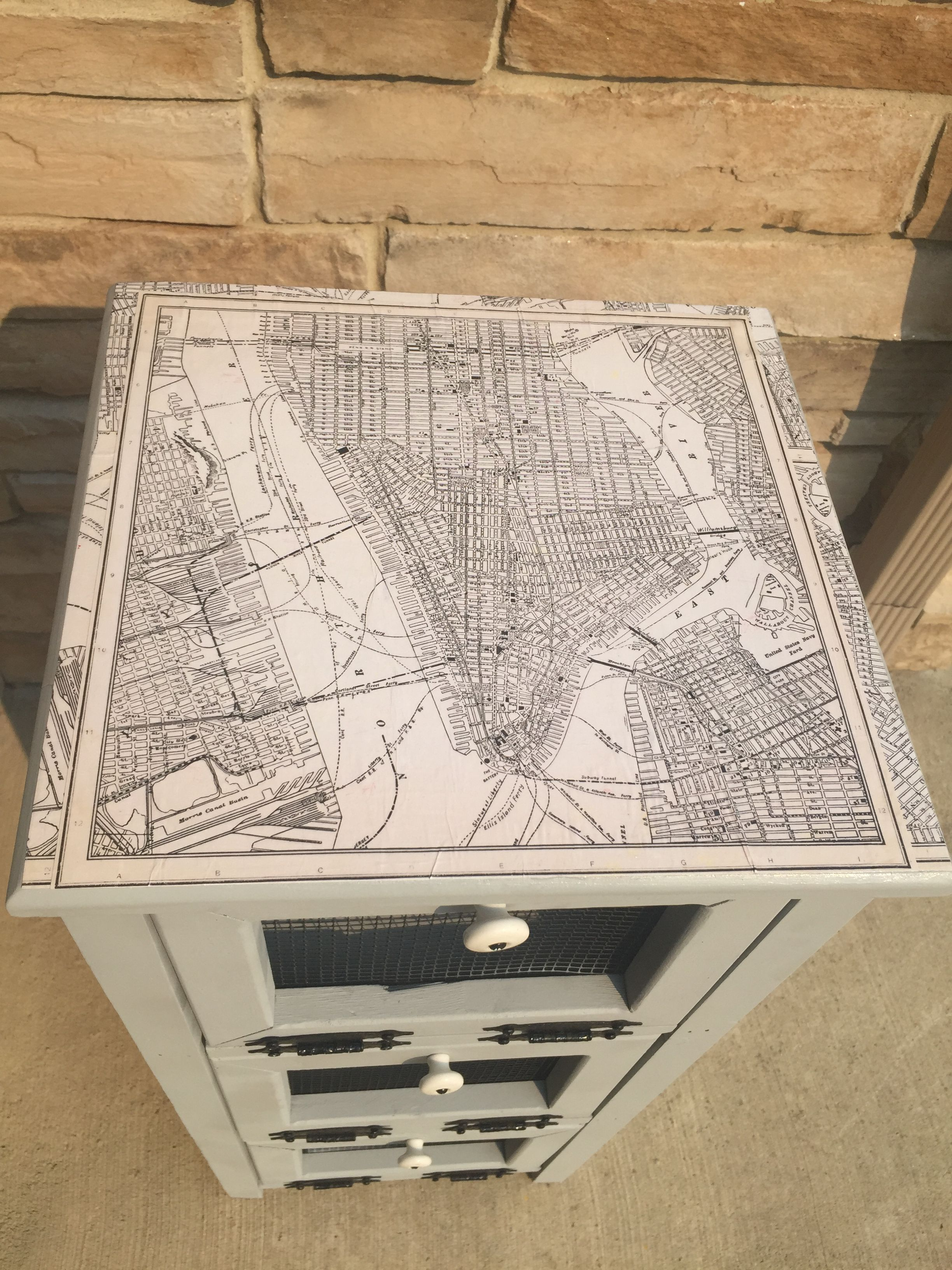 Upcycled chicken wire cabinet in misty grey with Manhattan top ...