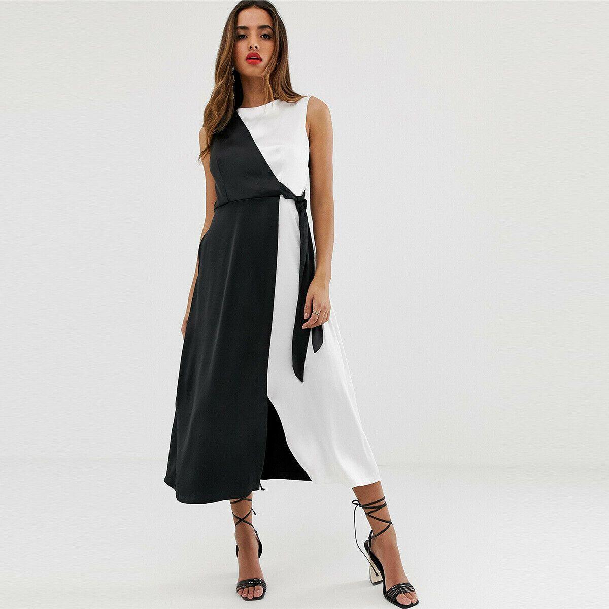 Vestiti Lunghi Eleganti Shop Online.Elegante Leggero Comodo Vestito Abito Nero Bianco Lungo Scollato