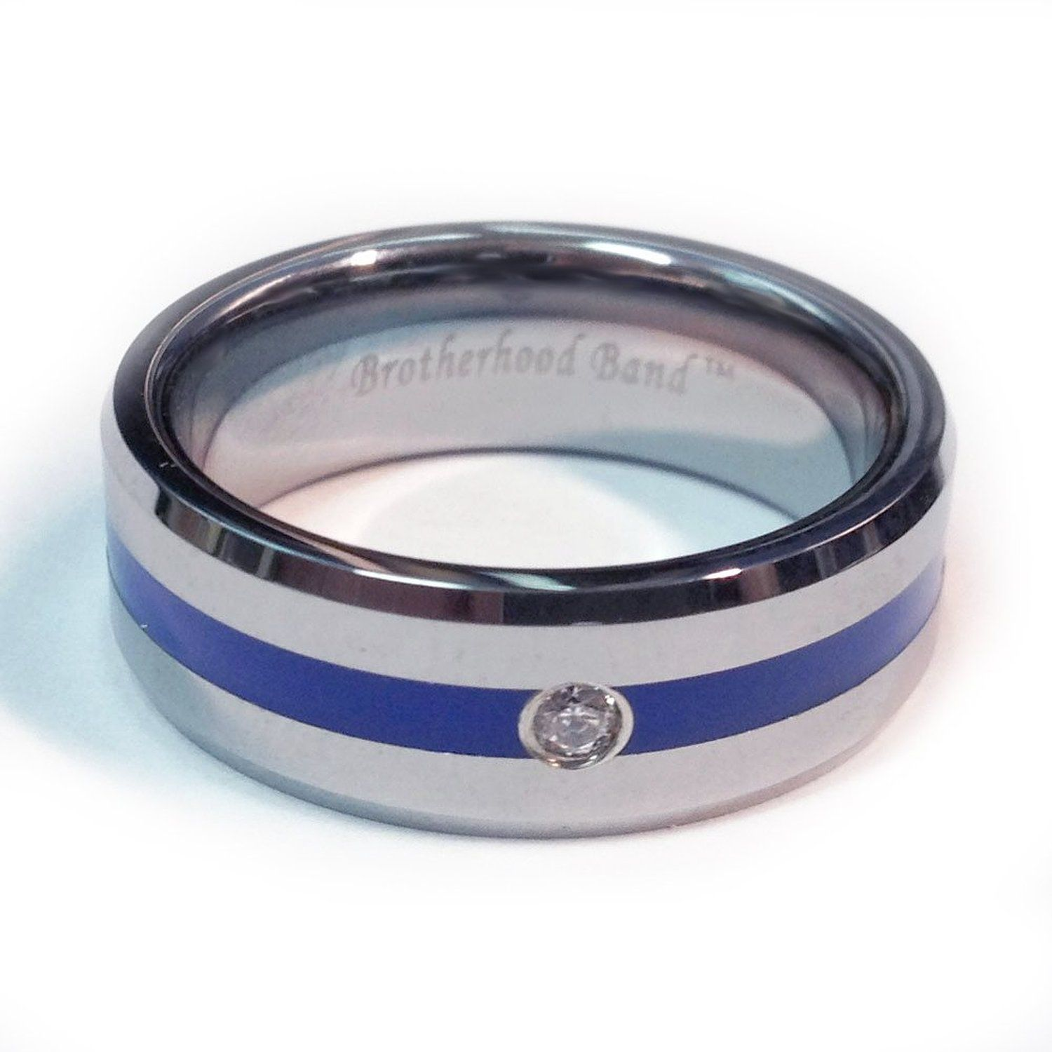wedding pin our officer cross rings engagement tungsten ring police line carbide blue peace inlay for thin band