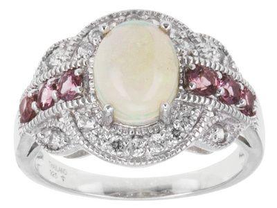1.11ct Oval Ethiopian Opal, .14ctw Round Pink Tourmaline, .35ctw Round White Zircon Silver Ring