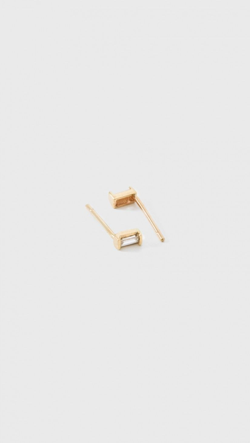 Loren Stewart Diamond Baguette Studs In 14K Gold | The Dreslyn
