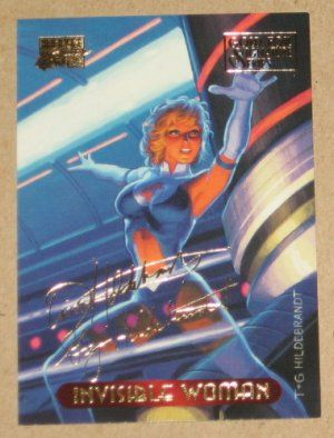 Marvel Masterpieces 1994 (Fleer) Gold-Foil Signature Parallel Card #55 Invisible Woman EX-MT