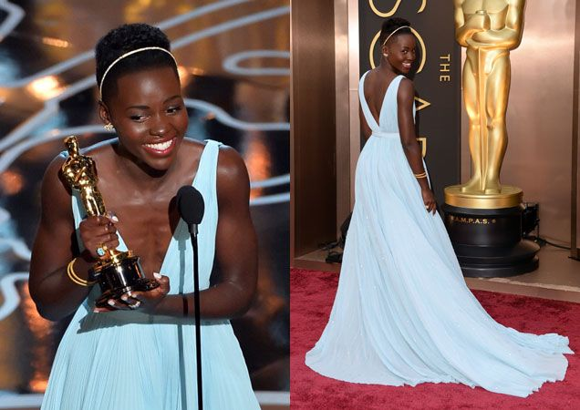 Lupita Nyong'o is a dream in blue Prada.  Oscars 2014