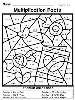 Valentine's Day Math: Multiplication Color By Number by ...