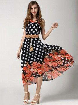 71703092d5e8 Bohemian Sleeveless Polka Dot Printed Summer Chiffon Maxi Dress with Belt