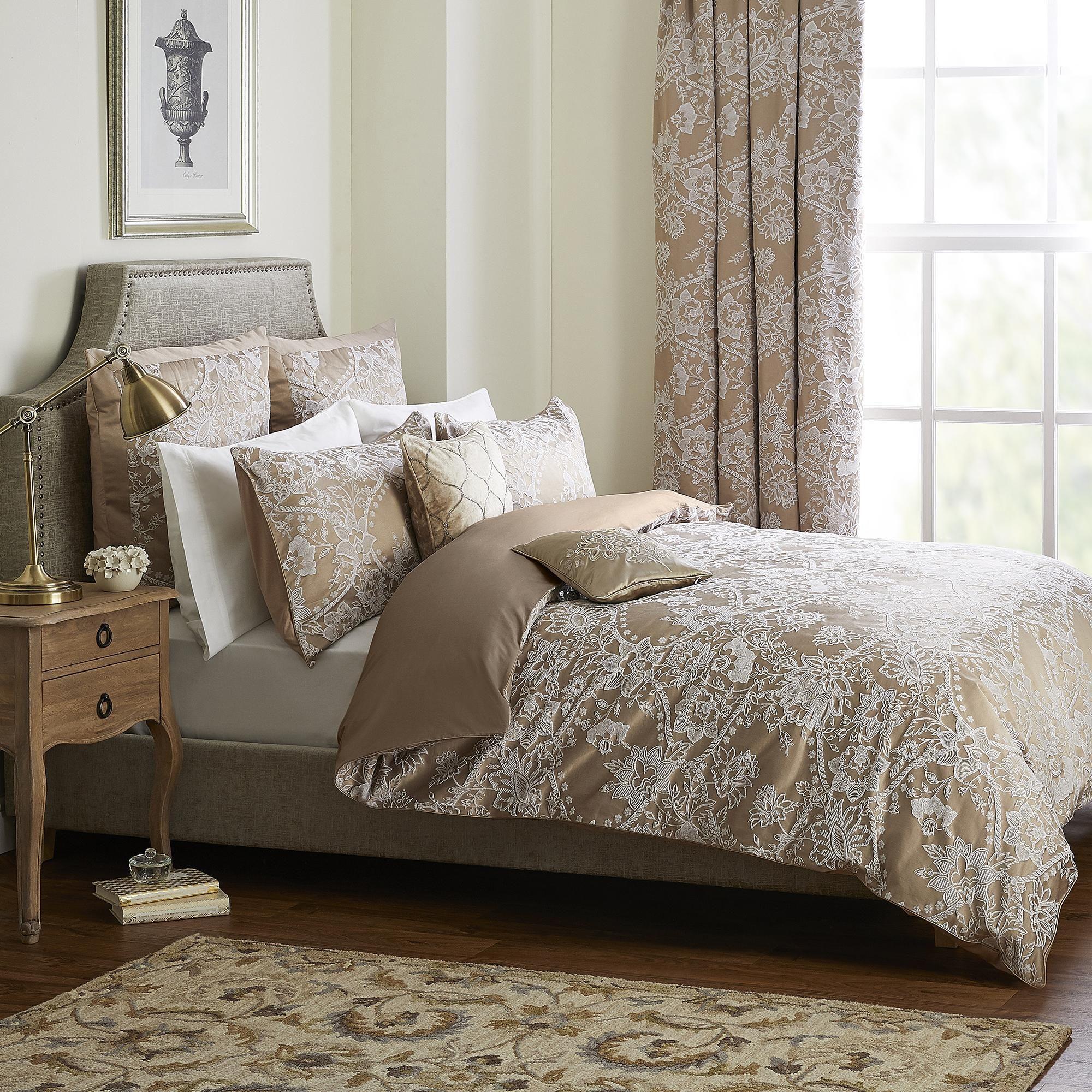 Contemporary Cream Jacquard Brown Duvet Cover Bedding Set Single Double King