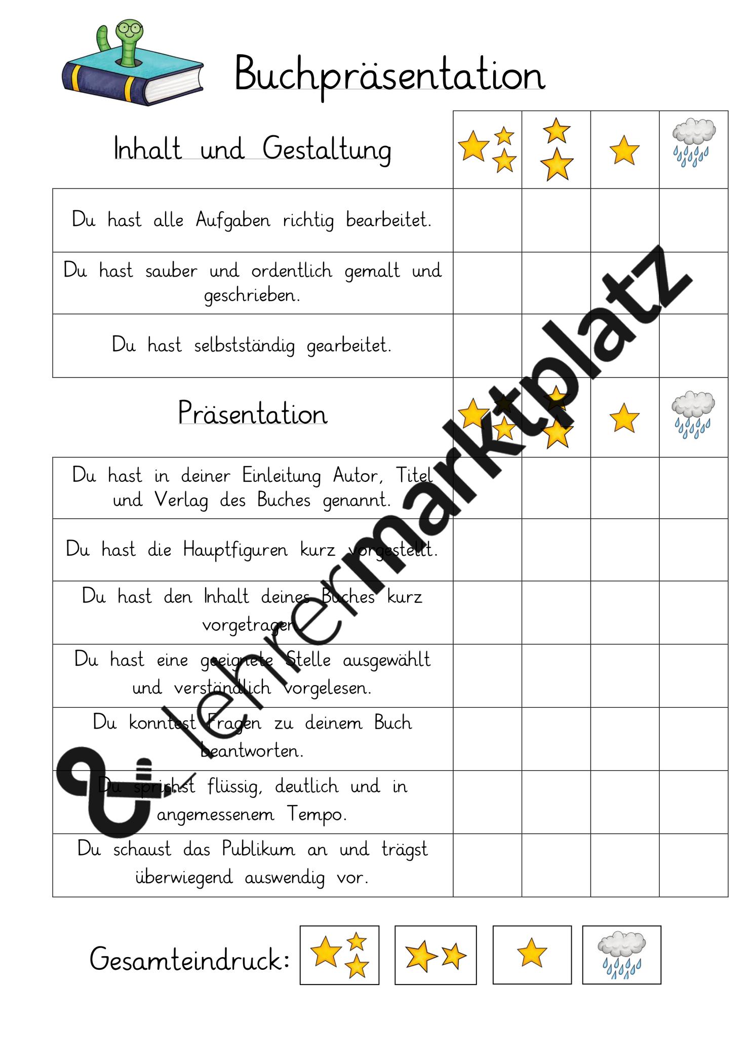 Buchprasentation Bewertungsraster Unterrichtsmaterial Im Fach Deutsch In 2020 Buchvorstellung Grundschule Lesen Lernen Lehrmaterial