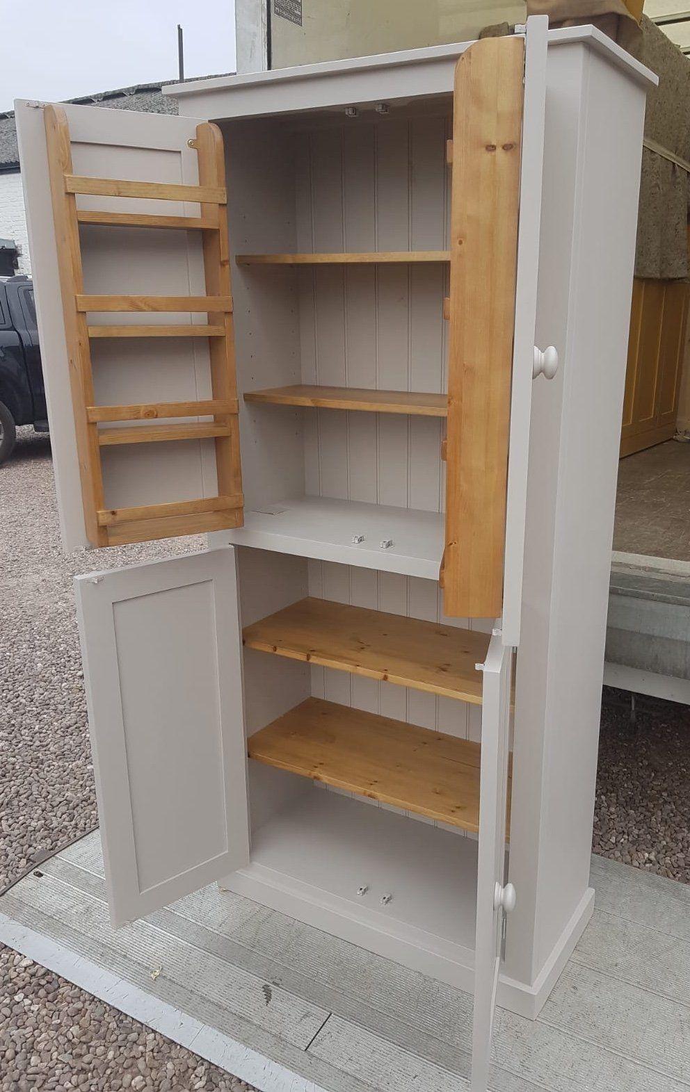 Larder Pantry Kitchen Utility Cupboard With Spice Racks 2 Door Over 2 Door Storage In 2020 Kitchen Cupboard Designs Kitchen Pantry Cabinets Kitchen Pantry Storage