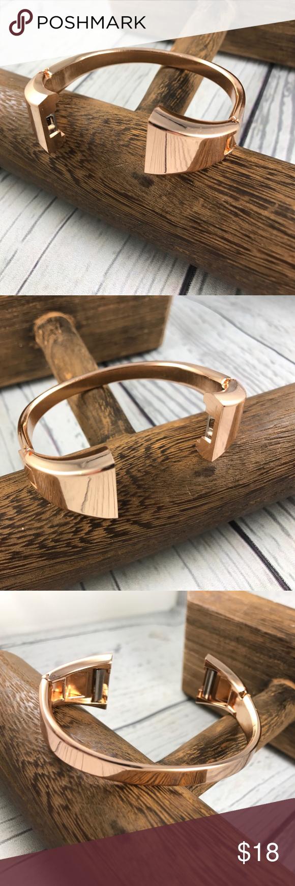 Rose gold fitbit charge bangle bracelet band my posh picks