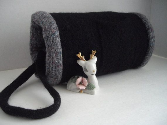 Black Winter Hand Muff Vintage Inspired Reversible Hand Felted Wool - by handcraftusa