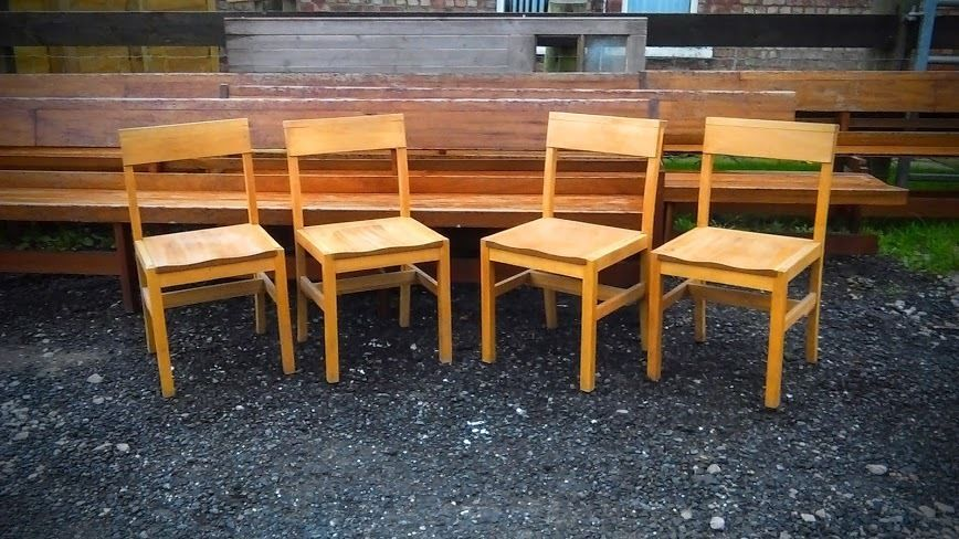 Solid Wooden Chapel Chairs Set of 4 Dining Vintage Reclaimed Church ...