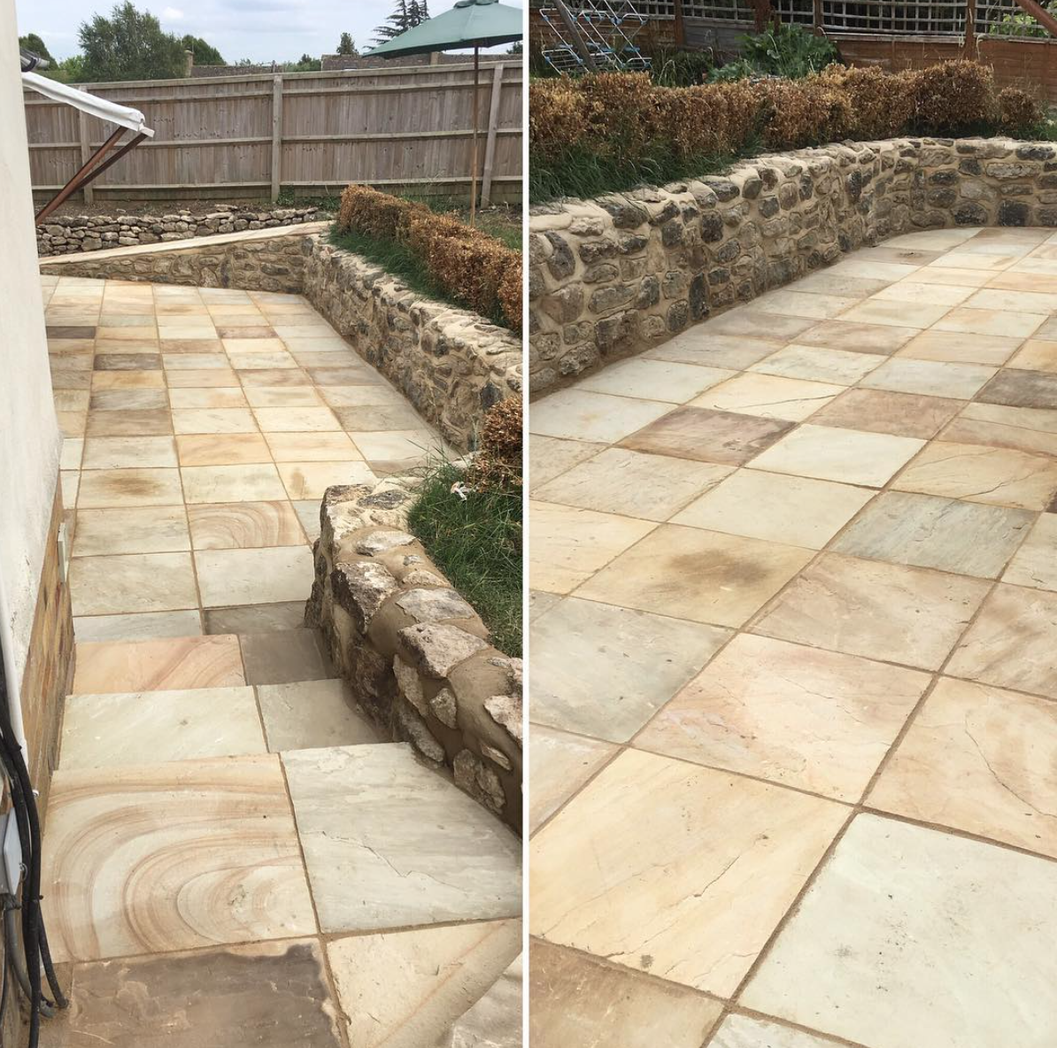 Natural Stone Paving With A Cotswolds Stone Wall Surround Driveways Patios Concrete Imprintedconcrete Paving Blo Stone Wall Natural Stones Paving Stones