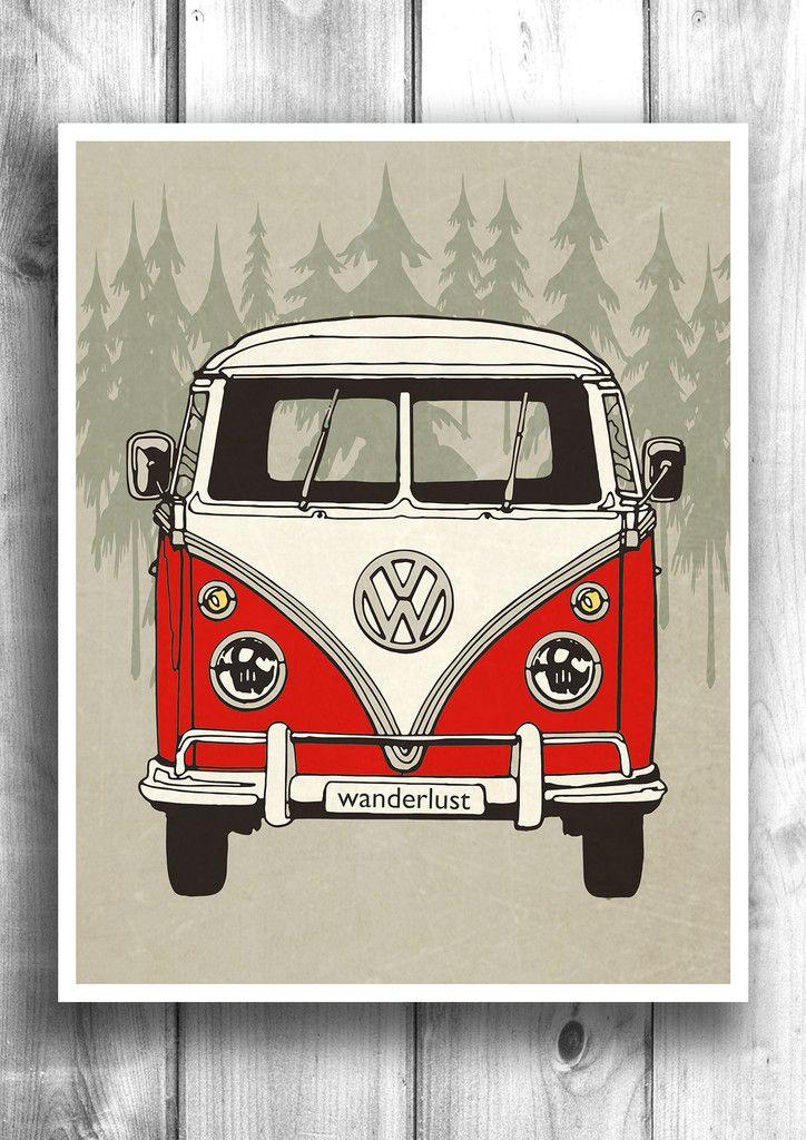 vw minibus wanderlust fine art letterpress poster travel print theken bilder ideen und. Black Bedroom Furniture Sets. Home Design Ideas