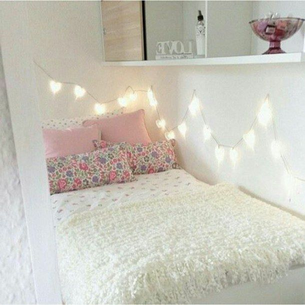 bedroom fairy lights interior room decor teen room tumblr white - Teenage Room Decor Tumblr