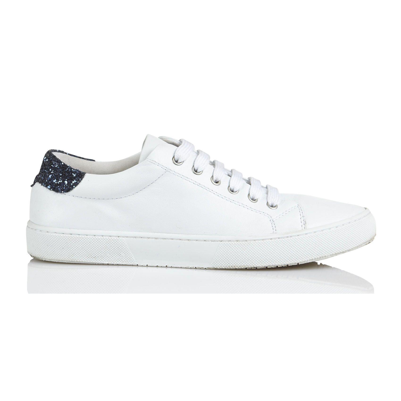e-boutique baskets en cuir avec paillettes hyper blanc karl marc