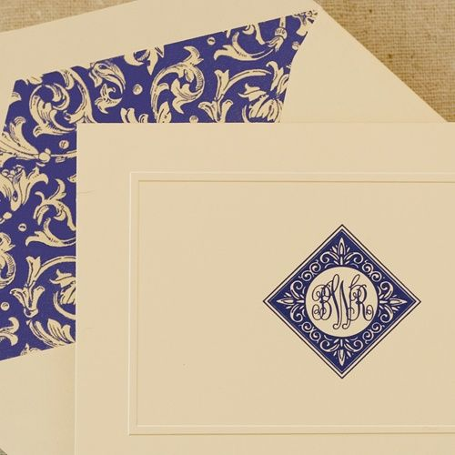 blue monogrammed and engraved stationery i love this want it now