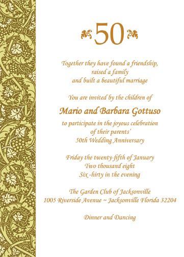 Wedding Invitations For A 50th Anniversary