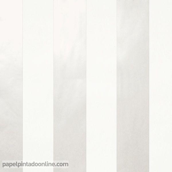 Papel Pintado Stripes 2928-1, papel de rayas en blanco roto y blanco perla.