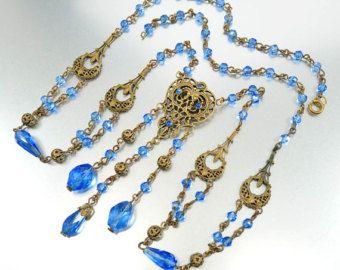 Tchèque Art déco collier bleu verre perle Sautoir Fleur di Lis Rhinestone années 1920 Antique Art