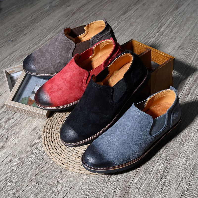 Men's Calfskin Classic Comfort Slip-On Loafer Flats Free Lettering