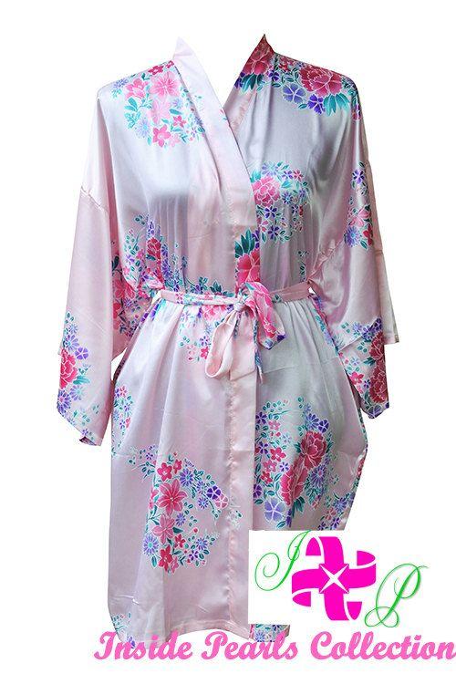 New Pink Floral Satin Silk Dressing Gown Wedding Robe Bridesmaid