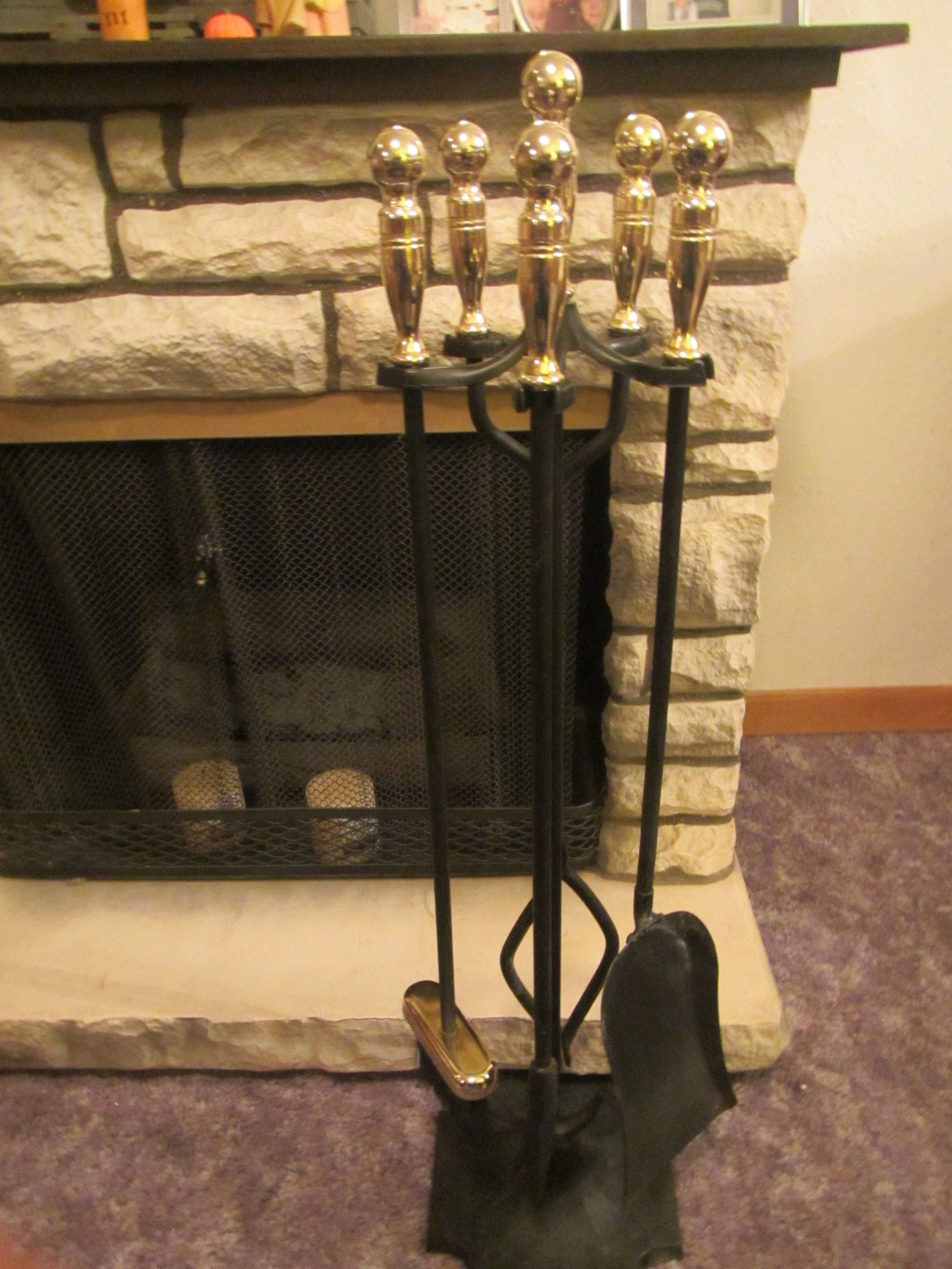 Fireplace Tool Set Brass Handle Shovel Broom Brush Poker And Black Metal Tongs In Stand Fp500 By Maurys Fireplace Tool Set Brass Handles Fireplace Tools