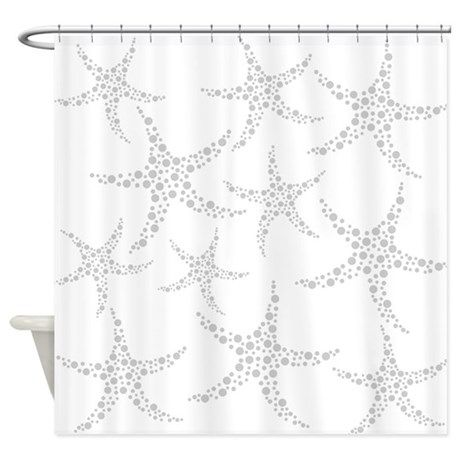 Dotty Gray Starfish Shower Curtain By Metarla Shower Curtain Gray Shower Curtains Unique Shower Curtain