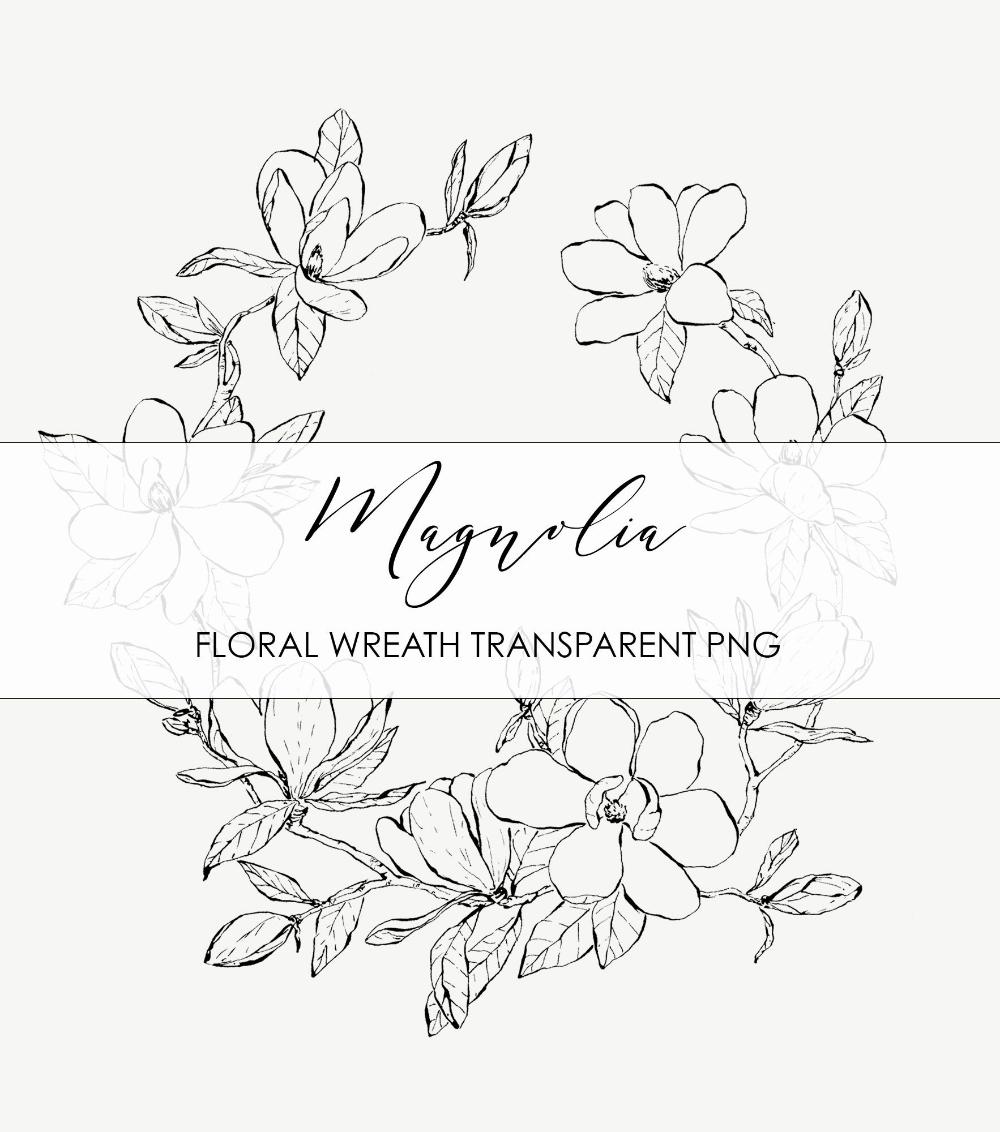 Photo of Hand drawn magnolia wreath ink illustration. Flower frame on transparent background, Botanical Illustration. PNG Downloadable Illustration.