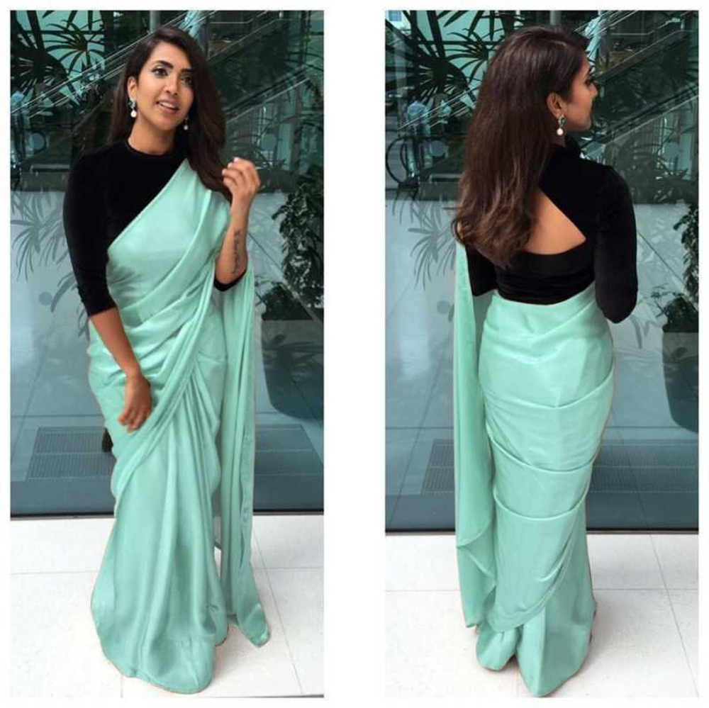 Photo of Beautiful Designer Satin Silk Plain Saree With Velvet Blouse and saree for women, Indian saree, designer saree,saree blouse, wedding saree,