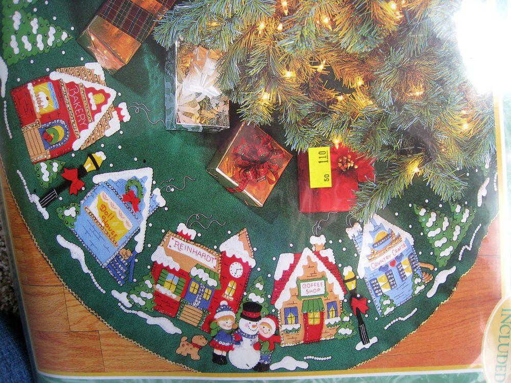 Bucilla Felt Applique Tree Skirt Kit Christmas Village Town Stores 43 83980 Holiday Tree Skirts Felt Applique Christmas Crafts