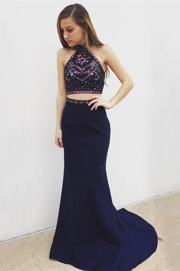 Two Pieces Navy Blue Long Mermaid Simple Cheap Prom Dresses K760 ...