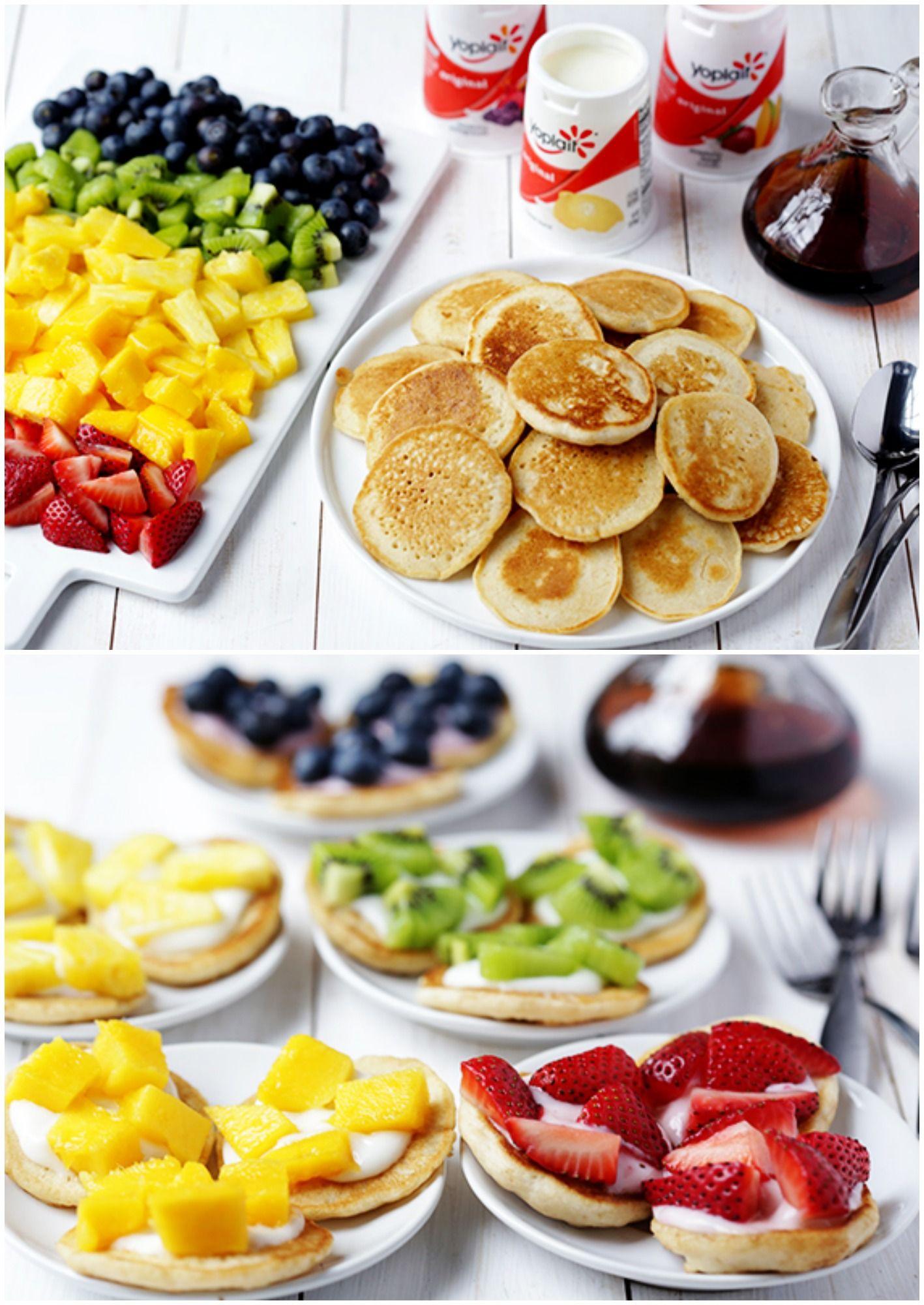 diy mini rainbow pancakes brunch rezept babyparty pinterest brunch fr hst ck und brunch. Black Bedroom Furniture Sets. Home Design Ideas