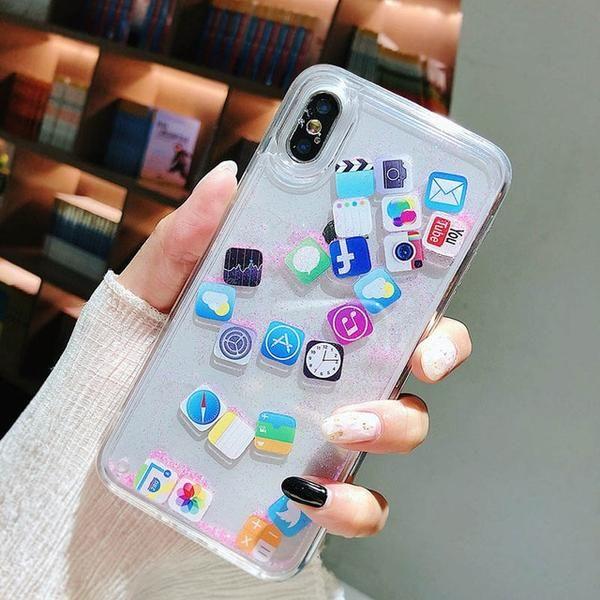 Phone Case Cute APP Icon Emoji Dynamic Liquid Case For